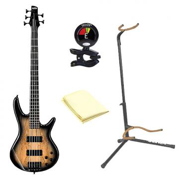 Custom Ibanez GSR205SM 5-String Electric Bass Guitar in Natural Gray Burst With Accessories