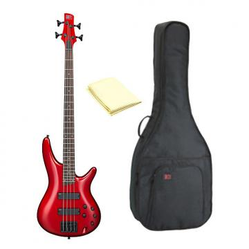 Custom Ibanez SR300B 4-String Electric Bass Guitar, Candy Apple Finish with Kaces KQA120 GigPak Bag & Cloth