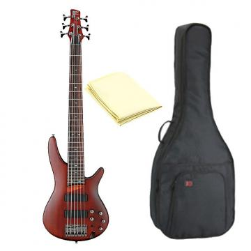 Custom Ibanez SR506BM 6-String Electric Bass Guitar in Brown Mahogany with Kaces KQA-120 GigPak Bag & Cloth