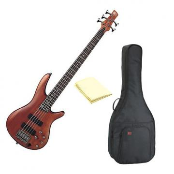 Custom Ibanez SR505BM Soundgear 5-String Bass Guitar in Mahogany with Kaces KQA-120 GigPak Bag and Cloth