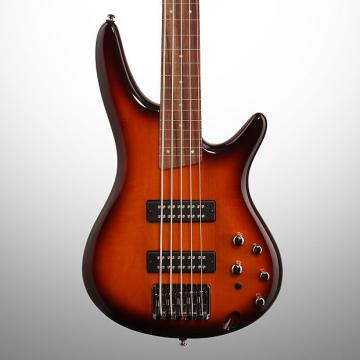 Custom Ibanez SR375EF Fretless Electric Bass, 5-String, Brown Burst
