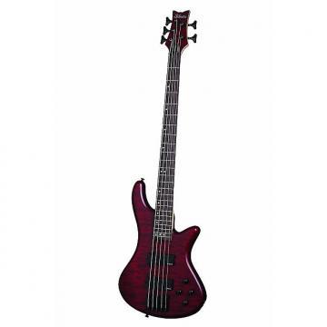 Custom Schecter Stiletto Custom-5 Electric Bass Guitar, Vampyer Red Satin, 2538