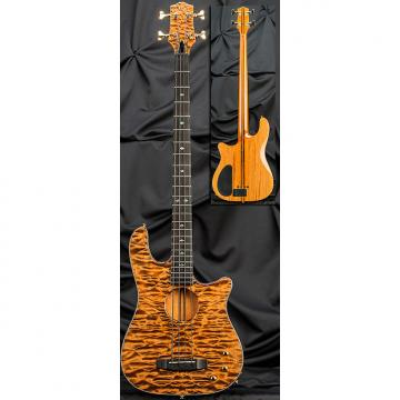 Custom Kiesel AC40 4 String Semi Hollow Acoustic Electric Bass Guitar Deep Umber Quilt with Soft Case