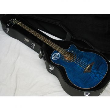 Custom DEAN Exotica Quilt Ash acoustic electric BASS guitar w/ HARD CASE Blue EQA EQABA