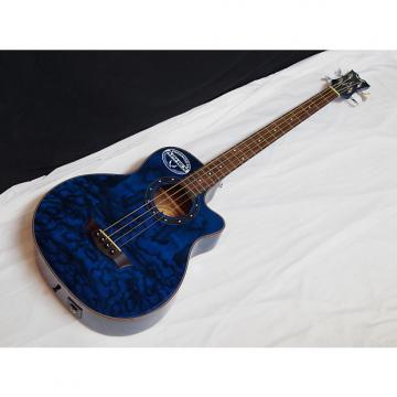 Custom DEAN Exotica Quilt Ash acoustic electric 4-string BASS guitar Blue - EQA EQABA