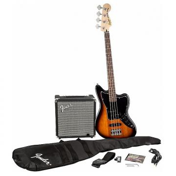 Custom Squier Affinity Jaguar Bass SS Pack with Fender Rumble 15W Amp - Sunburst