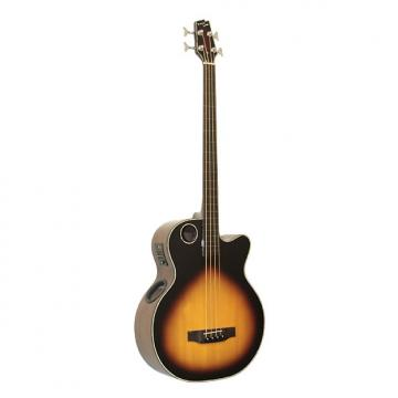 Custom Boulder Creek EBR1-TB4FE Tobacco Sunburst 4-String Fretless Acoustic Electric Bass