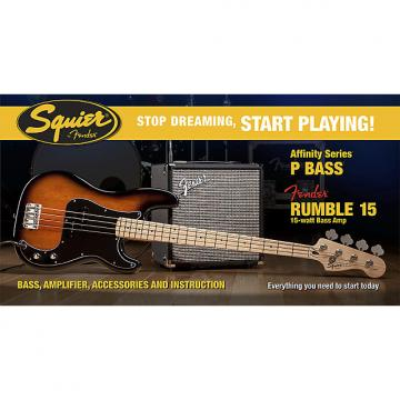 Custom Squier Affinity P-Bass Sunburst MN Pack with Rumble 15 Amp