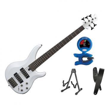 Custom Yamaha TRBX305 5 String Electric Bass White Bonus Kit