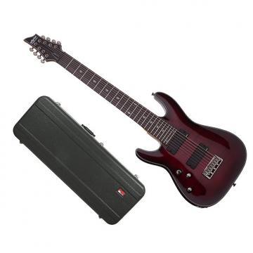 Custom Schecter Damien Elite 8 Crimson Red Burst w/Hard-Shell Case
