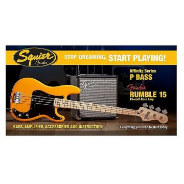 Custom Fender Squier Affinity Precision Bass Pack w/ Rumble 15 Amp - Butterscotch Blonde