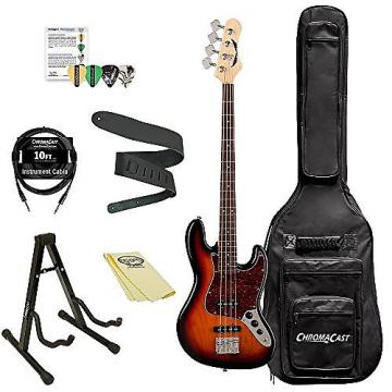 Custom Dean Guitars JUGGERNAUT R TSB Juggernaut Rosewood FB Bass Guitar Kit with ChromaCast Accessories, 3 Tone Sunburst