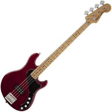 Custom Squier Deluxe Dimension IV Bass, Crimson Red Transparent, Maple