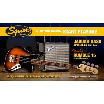 Custom Fender Squier Affinity Jaguar Bass Pack With Rumble 15 Amp, Brown Sunburst