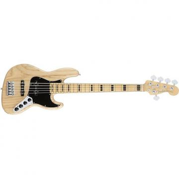 Custom Fender American Elite Jazz 5-String Bass Guitar Maple Fingerboard Natural + Case