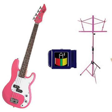 Custom Bass Pack-Pink Kay Electric Bass Guitar Medium Scale w/ SN1 Tuner & Pink Stand