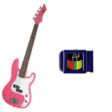 Custom Bass Pack-Pink Kay Electric Bass Guitar Medium Scale w/SN1 Tuner