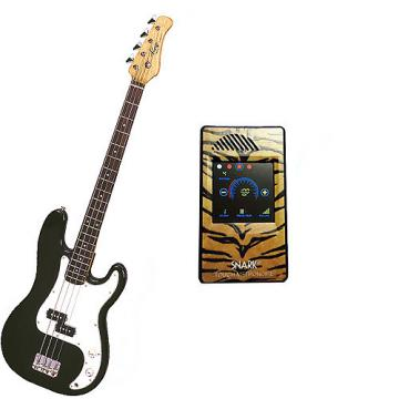 Custom Bass Pack-Black Kay Electric Bass Guitar Medium Scale w/Metronome (Tiger)