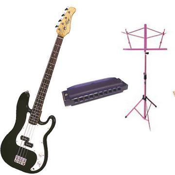 Custom Bass Pack-Black Kay Electric Bass Guitar Medium Scale w/Harmonica & Black Stand