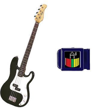 Custom Bass Pack-Black Kay Electric Bass Guitar Medium Scale w/SN1 Tuner
