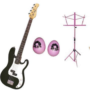 Custom Bass Pack-Black Kay Electric Bass Guitar Medium Scale w/Black Shakers & Black Stand