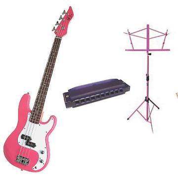 Custom Bass Pack-Pink Kay Electric Bass Guitar Medium Scale w/Harmonica & Pink Stand