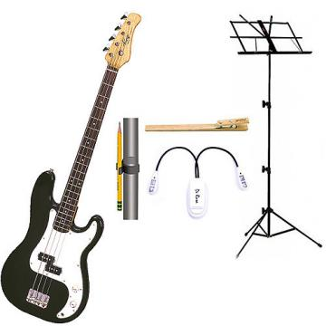 Custom Bass Pack-Black Kay Bass Guitar Medium Scale w/Black Music Stand & Accessory PK