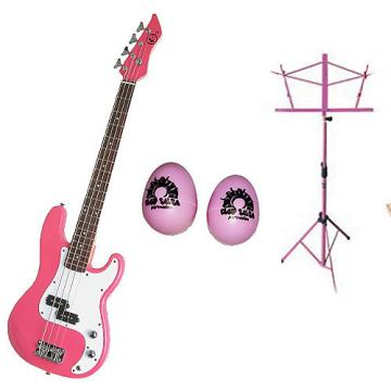 Custom Bass Pack-Pink Kay Electric Bass Guitar Medium Scale w/Pink Shakers & Pink Stand