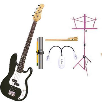 Custom Bass Pack-Black Kay Bass Guitar Medium Scale w/Black Music Stand & Accessory PacK