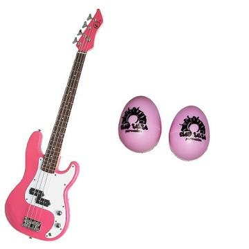 Custom Bass Pack-Pink Kay Electric Bass Guitar Medium Scale w/Pink Egg Shakers