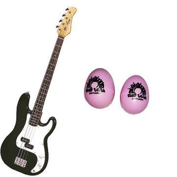 Custom Bass Pack-Black Kay Electric Bass Guitar Medium Scale w/Black Egg Shakers