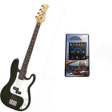 Custom Bass Pack-Black Kay Electric Bass Guitar Medium Scale w/Metronome (San Francisco)