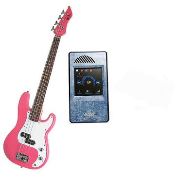 Custom Bass Pack-Pink Kay Electric Bass Guitar Medium Scale w/Metronome (Light Blue)