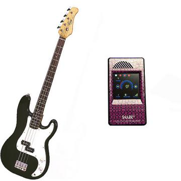 Custom Bass Pack-Black Kay Electric Bass Guitar Medium Scale w/Metronome (Purple Snake)