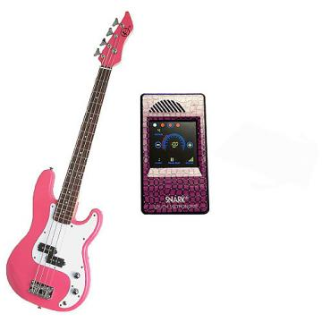 Custom Bass Pack-Pink Kay Electric Bass Guitar Medium Scale w/Metronome (Purple Snake)