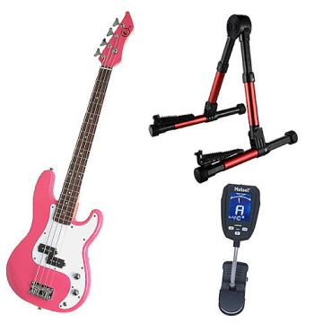 Custom Bass Pack-Pink Kay Bass Guitar Medium Scale w/Meisel COM-90 Tuner & Red Stand
