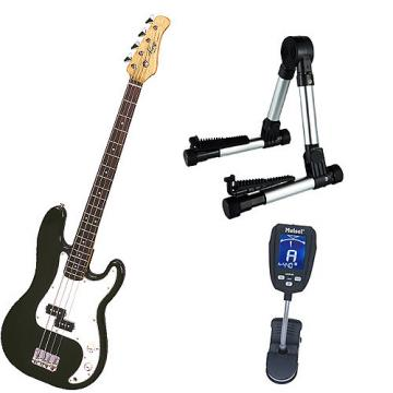 Custom Bass Pack-Black Kay Bass Guitar Medium Scale w/Meisel COM-90 Tuner & Silver Stand