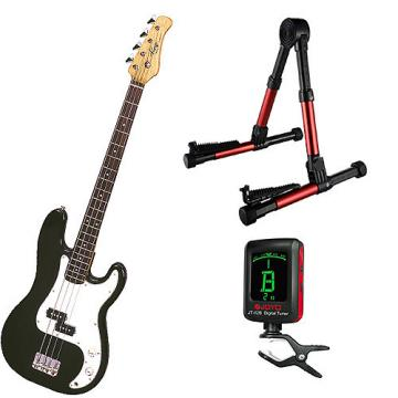 Custom Bass Pack-Black Kay Bass Guitar Medium Scale w/Meisel COM-80 Tuner & Red Stand
