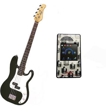 Custom Bass Pack-Black Kay Electric Bass Guitar Medium Scale w/Metronome (Camera)