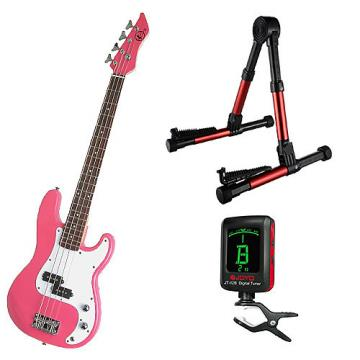 Custom Bass Pack-Pink Kay Bass Guitar Medium Scale w/Meisel COM-80 Tuner & Red Stand