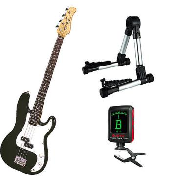 Custom Bass Pack-Black Kay Bass Guitar Medium Scale w/Meisel COM-80 Tuner & Silver Stand
