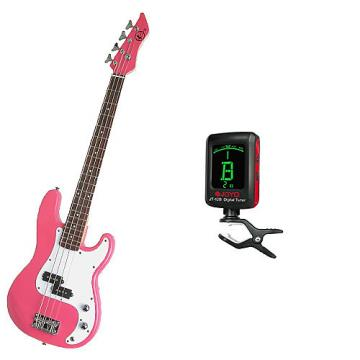 Custom Bass Pack-Pink Kay Electric Bass Guitar Medium Scale w/Meisel COM-80 Tuner