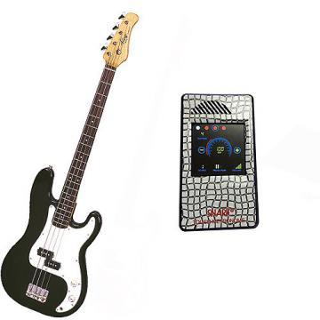 Custom Bass Pack-Black Kay Electric Bass Guitar Medium Scale w/Metronome (White Deco)