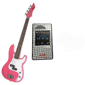 Custom Bass Pack-Pink Kay Electric Bass Guitar Medium Scale w/Metronome (White Deco)