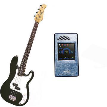 Custom Bass Pack-Black Kay Electric Bass Guitar Medium Scale w/Metronome (Light Blue)