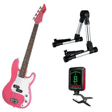 Custom Bass Pack-Pink Kay Bass Guitar Medium Scale w/Meisel COM-80 Tuner & Silver Stand