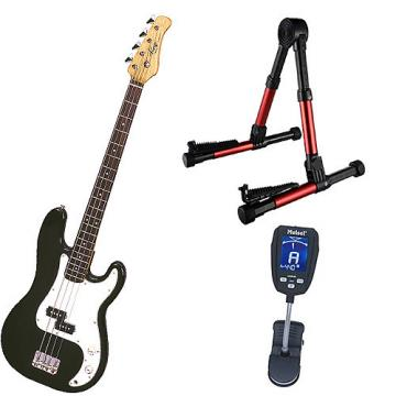Custom Bass Pack-Black Kay Bass Guitar Medium Scale w/Meisel COM-90 Tuner & Red Stand