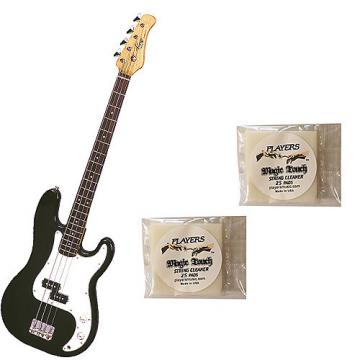 Custom Bass Pack-Black Kay Electric Bass Guitar Medium Scale w/2 PK String Cleaning Pads