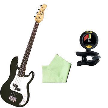 Custom Bass Pack - Black Kay Electric Bass Guitar Medium Scale w SN8 Tuner & Polish Cloth