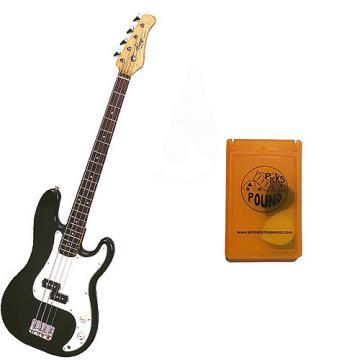 Custom Bass Pack - Black Kay Electric Bass Guitar Medium Scale w/Yellow Pick Case